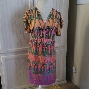PURE ENERGY Purple & Orange Butterfly Dress